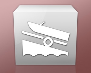 "Box-shaped Icon (red b/g) ""Boat Ramp"""