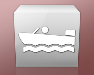 "Box-shaped Icon (red b/g) ""Motorboating"""