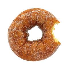 Bitten sugared cake doughnut
