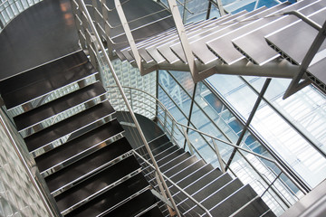 Open stairwell in a modern office building