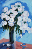Fototapeta flowers in a vase drawn by oil on a canvas,  reproduction,  illu