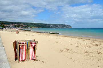 Swanage Beach, Dorset, at the start of the holiday season