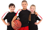 Young Boy and Girl Child Basketball Team