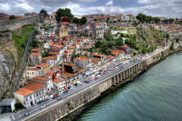 Guindais funicular railway in Porto, Portugal.