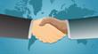 Handshake over a world map