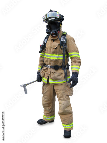 Modern firefighter isolated on a white background
