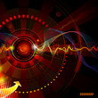 Abstract technology background in dark red.