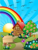 Casa su Colline Verdi Cartoon-Little Home on Green Hills-Vector