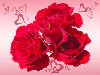 красные розы с сердечками