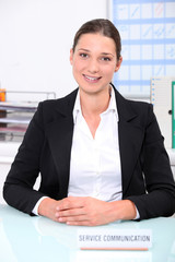 woman working at a communication service