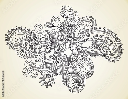 Hand-Drawn Abstract Henna Mendie Flowers