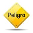 Señal amarilla texto Peligro