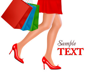 Waist-down view of shopping woman. Vector.