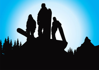 alpine snowboarders