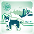 Retro background with illustrated dog.