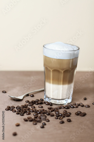 latte macchiato with coffeebeans