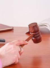 Judge handling a gavel