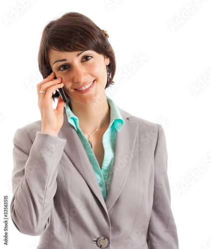 Beautiful businesswoman speaking at phone
