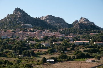 Sardinia, Italy: Aggius, view of the town with its mountains.