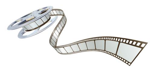 Movie film spooling out of film reel