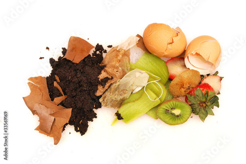Organic waste white background