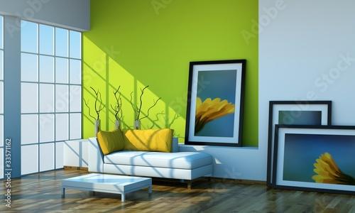 Wohndesign - grünes Loft