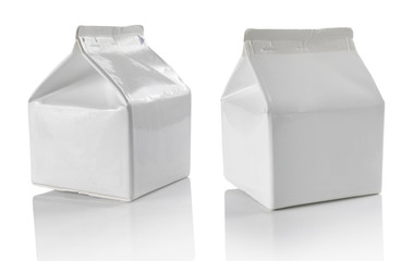 White blank milk box isolated on white