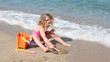 little girl playing and fun on the beach