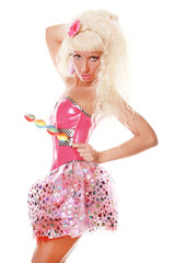 Perfect Barbie Woman in Pink Clothes with Big Candy