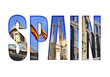 Spain text with different tourist spots