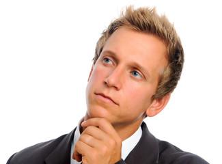 Close up portrait of businessman thinking