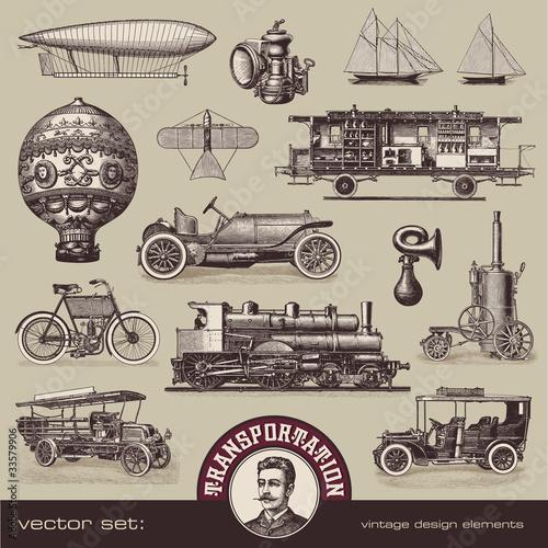 Vintage Transportmittel - Set von Designelementen