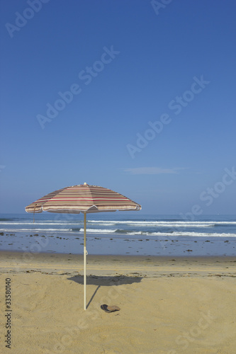 Beach Umbrella and Sandals; copyspace
