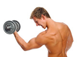 Screaming muscular man with dumbbell