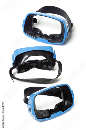 Three blue swimming goggles