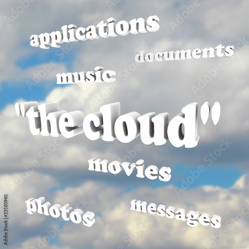 Cloud Computing Words in Sky Photos Movies Documents Application