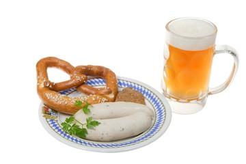 Mass Bier mit Weißwurst und Breze