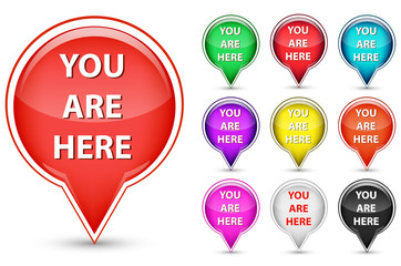 set of you are here button isolated on white background