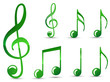 set of glossy green music note isolated on white