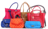 Fototapety Many color women bags  on white