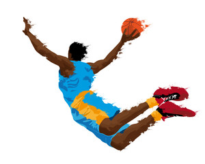 abstract grunge silhouette of a basketball player