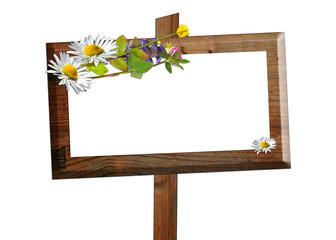 Holz Schild Tafel Kräuter Blumen