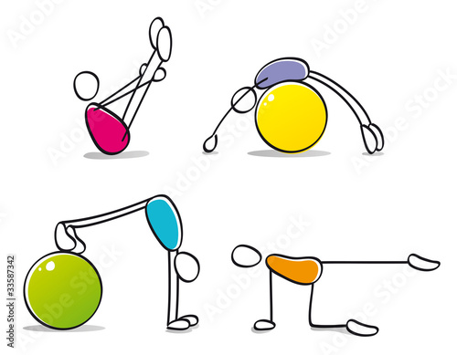 funny persons practicing pilates