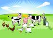 Bauer mit seinen Tieren