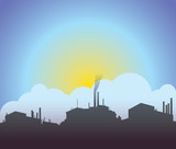 Industrial skyscape silhouette poster