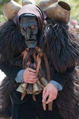 Sardinia, Italy:  Mamuthones mask of Mamoiada