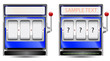 blue slot machine isolated on white background