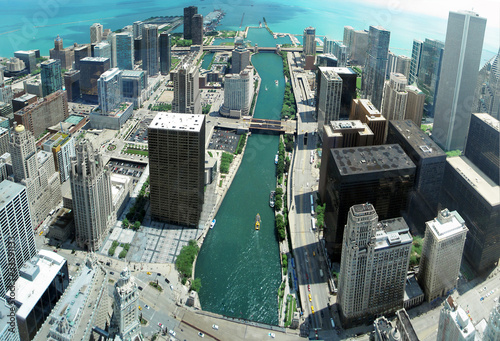 Unique Chicago skyline panorama from 88th floor on Chicago river