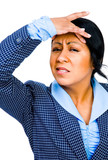 Stressed businesswoman suffering poster