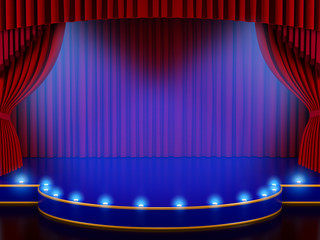Empty stage with lights and red curtain